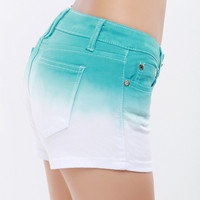 Casual Gradient Color Denim Shorts