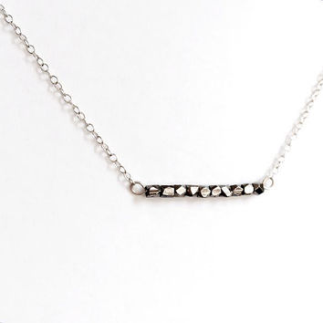 Minimalist Dark Grey Metallic Beaded Bar Sterling Silver Necklace. Gift for Her
