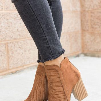 Perforated Peep Toe Cut Out Ankle Booties