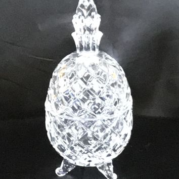 Pineapple Lead Crystal Footed Candy Dish  7""