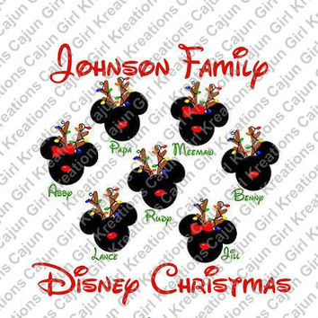 Christmas Deer with Lights on Antlers Family Trip Mickey Mouse Heads Personalized w/ Names/Date Printable Iron On Transfer DIY