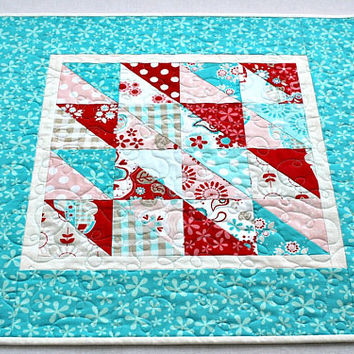 Quilted Summer Table Topper, Turquoise Red White, Reversible Table Mat, Square Table Runner, Floral Table Quilt, Quiltsy Handmade