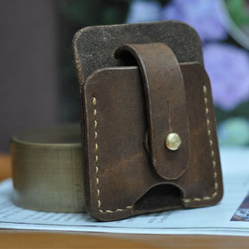 Hand Stitched Vintage Leather Lighter Case Zippo cover Handmade Brown Leather ZIPPO holder