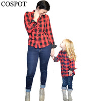 COSPOT Mom and Girls Red Plaid Shirt Mother and Daughter Cotton Matching Blouse Family Fashion Spring Top Tee 2017 28F