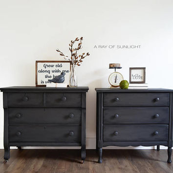 Pair of Nightstands - Large Farmhouse Rustic Tables - Matching Antique Dressers - Vintage Furniture - Small Dresser - Gray Painted Furniture