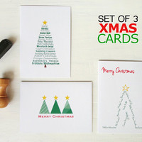 Christmas cards set merry christmas cards set of three xmas cards christmas tree green red