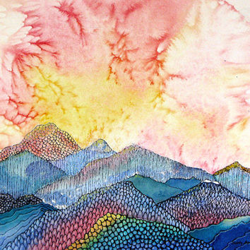 """Abstract dramatic sunset over Colorado mountains. Pagosa Peak 7.  A decorative CERAMIC TILE wall  art  -  8"""" x 10"""".  Free U.S. shipping."""
