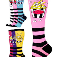 Movie Theater Popcorn and Tickets Design Novelty Knee High Socks