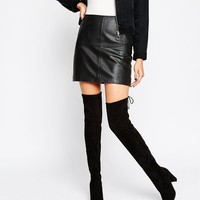 Glamorous Tie Back Black Heeled Over The Knee Boots at asos.com