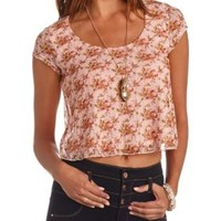 Floral Print Lace Swing Crop Top by Charlotte Russe