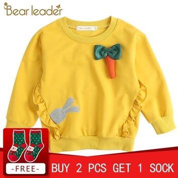 Bear Leader Girls T-shirt 2018 New Fashion Style Girl Tops Long Sleeve Floral Pattern Design For Children Tee Tops Kids Clothing