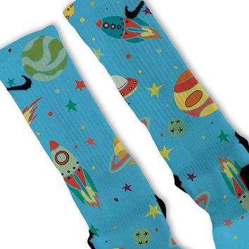 space galaxy day fast shipping nike elite socks customized lebrons kobes kd  number 1