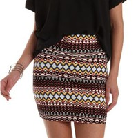 Black Combo Tribal Print Bodycon Mini Skirt by Charlotte Russe