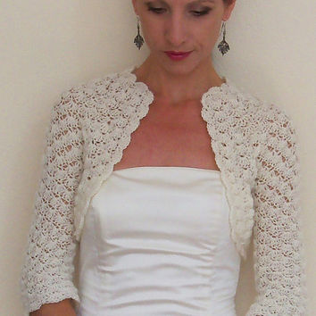 Wedding Bridal Shrug Bridesmaids Bolero crochet with ivory angora