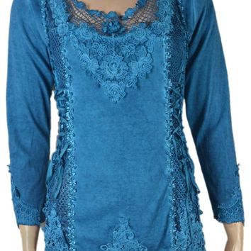 Pretty Angel Clothing Turquoise Long Sleeve Vintage Victorian Lace Up Blouse 10958