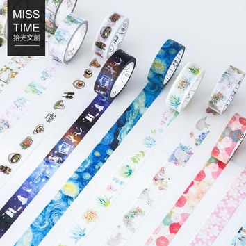Japanese Style Washi Tape Cute Cat and Flowers DIY Scrapbooking Diary Decor Paper Stickers Planet Masking Tape Kawaii Stationery