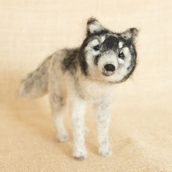 Midnight the Wolf: Needle felted animal sculpture