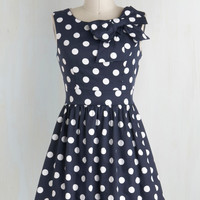 The Pennsylvania Polka A-Line Dress in Navy Dots | Mod Retro Vintage Dresses | ModCloth.com