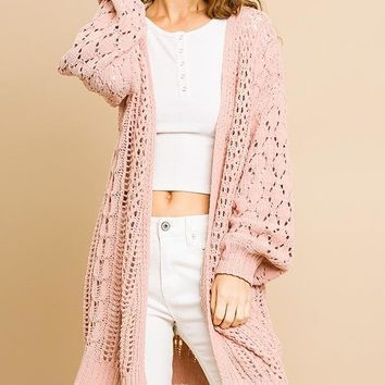 Crochet Knit Long Sleeve Open Front Sweater Cardigan