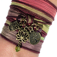Namaste Silk Wrap Bracelet Owl Yoga Bohemian Lotus Tree of Life Arm Band Fall Unique Stocking Stuffer Christmas Gift Under 30 Item X22