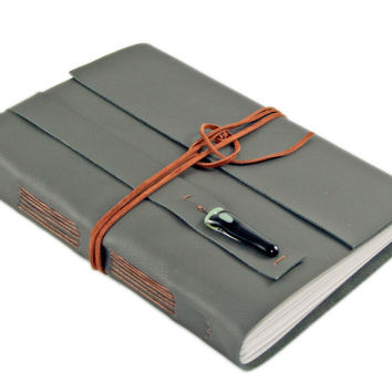 Large Dark Olive Green Leather Journal // Travel Journal // OOAK Glass Piece // Blank Paper // Ready to Ship // Prayer Journal // Diary