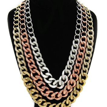 Silver Gold and Rose Gold Textured Layered Chain Necklace