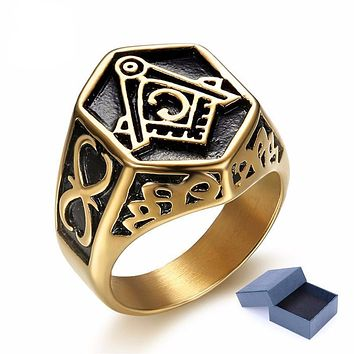 Vintage Hexagon Masonic Ring