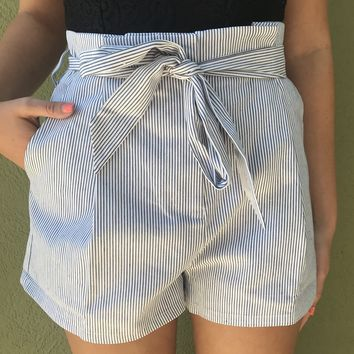 Pull Me Closer Shorts- Blue/White