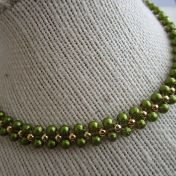 Beaded Choker - green gold bead choker - choker jewelry - necklace jewelry - beaded chokers jewelry - green beads chokers - necklace chokers