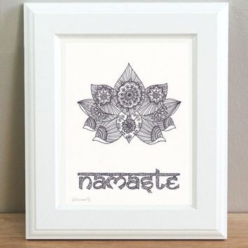 Namaste Poster, Lotus Original Black & White Drawing, Yoga studio decor, Floral decorative illustration, Indian Ethnic Vibrant Energy Art