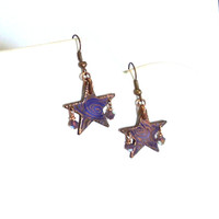 Earrings Etched Star Copper with Lavender and Swarovski Crystals 1 3/4 Inch