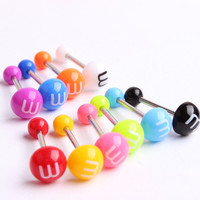 Acrylic Tongue Stud Ring For Women Letter M Candy Color Piercing