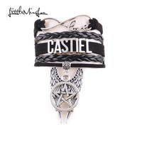 Little MingLou Infinity love Supernatural Castiel Bracelet Pentagram Wings Charm men bracelets & bangles for Women jewelry