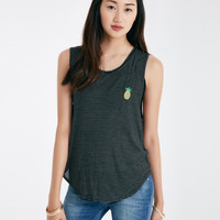 Embroidery Pineapple Mucsle Tank | Wet Seal