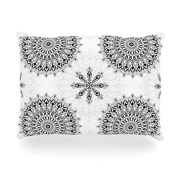 "Julia Grifol ""Black Mandala"" White Black Oblong Pillow"