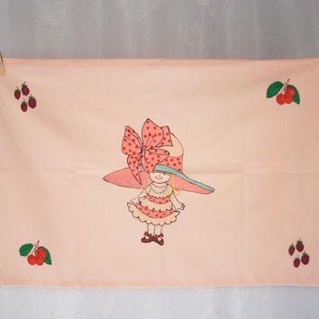 Hand Painted Vintage Pillow Case Pink Girls Bedding Holly Hobbie Style Cotton Envelope Pillowslip Pillowcase