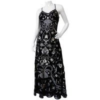 1990s Velvet Embroidered Maxi Gown