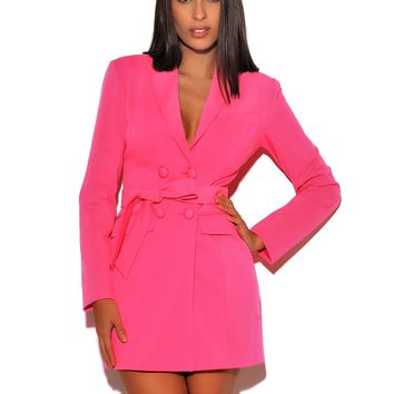 Hailey Hot Pink Long Sleeve Blazer Dress
