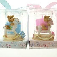Votive Candle Favors, 2-inch, Rocking Horse Bear, Light Blue