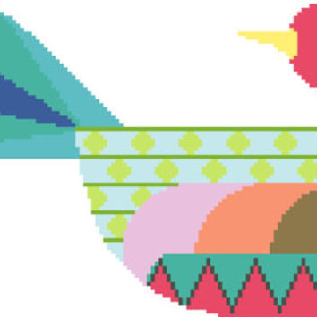 Brightly coloured bird cross stitch pattern. Modern, contemporary design inspired by folk art.