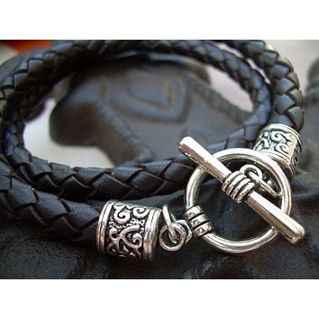 Unisex Mens Womens  Toggle Closure Brown Braided Leather Bracelet Urban Survival Gear USA