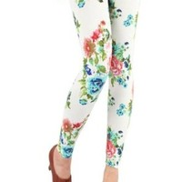 Amour- Women Popular Animal Pattern Ankle Length Footless Legging Tregging Tight (Floral Print:White)