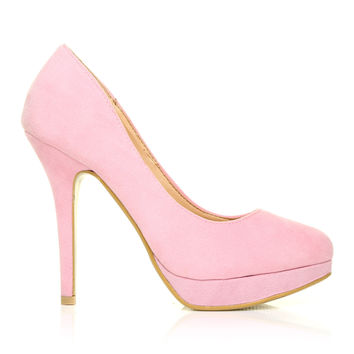 EVE Baby Pink Faux Suede Stiletto High Heel Platform Court Shoes