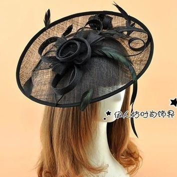 Multi Color Kate Middleton Hat Bridal Hats Hair Accessories Large Size Feather Flower Wedding Royal Sinamay Fascinator Hat