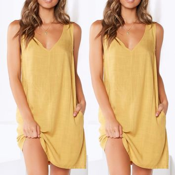 New women's sexy V-neck halter sleeveless solid color dress