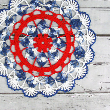 Patriotic 4th of July Variegated Crocheted by ronisboutique on Zibbet