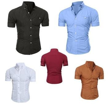 Men's Bussiness Lapel Button Down Short Sleeve Top Blouse Casual Solid Shirt