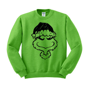 Grinch Head Christmas Crewneck Sweatshirt