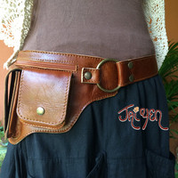 Leather Pocket Utility Belt ~ The Hipster -3 Colors - Iphone wallet, Passport holder,Travel bag,Steampunk Hip Purse