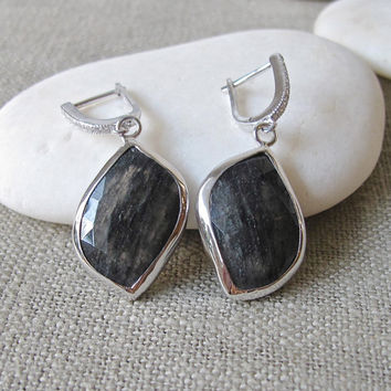 Black Stone Earrings- Rutile Earrings- Stone Earrings- Gemstone Earrings- Tourmalated Earrings- Statement Earrings- Black Rutile Earring